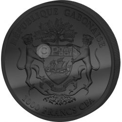 GOLDEN ENIGMA African Springbok Black Ruthenium 1 Oz Silber Münze 1000 Francs Gabon 2014