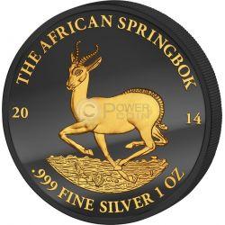 GOLDEN ENIGMA African Springbok Black Ruthenium 1 Oz Moneda Plata 1000 Francs Gabon 2014