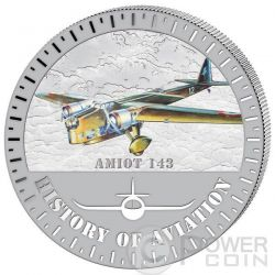 AMIOT 143 History Of Aviation Airplane Fighter Aircraft Moneda Plata 5000 Francs Burundi 2015
