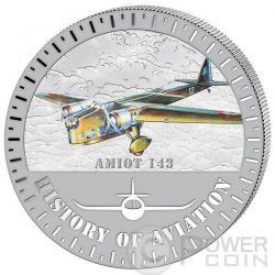 AMIOT 143 History Of Aviation Airplane Fighter Aircraft Серебро Монета 5000 Франков Бурунди 2015