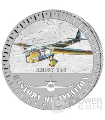 AMIOT 143 Storia Aviazione Aeroplano Caccia Moneta Argento 5000 Franchi Burundi 2015