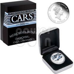 MERCEDES 300SL GULLWING Sports Cars Серебро Монета 1$ Тувалу 2006