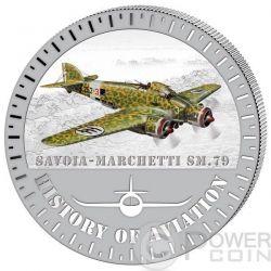 SAVOIA MARCHETTI SM.79 History Of Aviation Airplane Fighter Aircraft Серебро Монета 5000 Франков Бурунди 2015