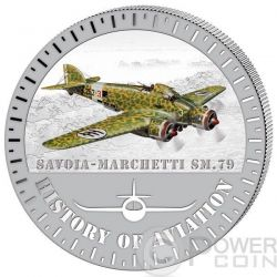 SAVOIA MARCHETTI SM.79 History Of Aviation Airplane Fighter Aircraft Silber Münze 5000 Francs Burundi 2015