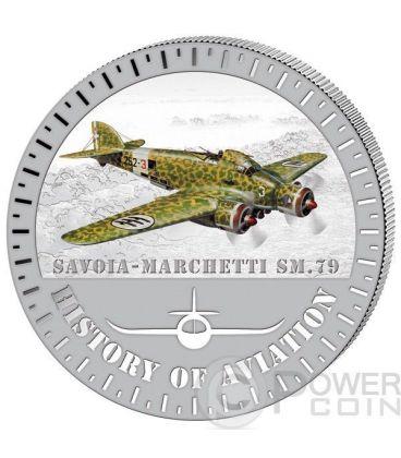 SAVOIA MARCHETTI SM.79 Storia Aviazione Aeroplano Caccia Moneta Argento 5000 Franchi Burundi 2015