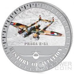 PRAGA E-51 History Of Aviation Airplane Fighter Aircraft Серебро Монета 5000 Франков Бурунди 2015
