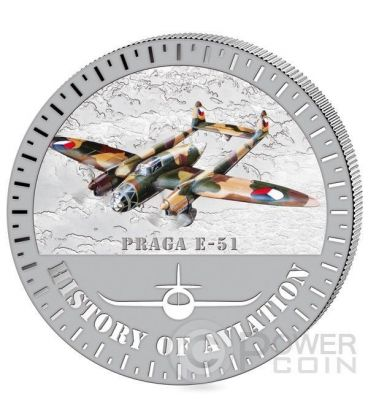 PRAGA E-51 History Of Aviation Airplane Fighter Aircraft Silver Coin 5000 Francs Burundi 2015