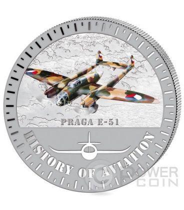 PRAGA E-51 Storia Aviazione Aeroplano Caccia Moneta Argento 5000 Franchi Burundi 2015