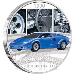 LAMBORGHINI COUNTACH Sports Cars Silver Coin 1$ Tuvalu 2006