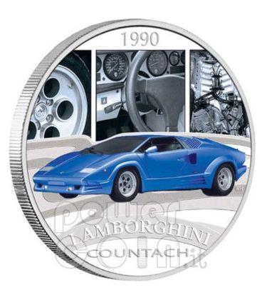 LAMBORGHINI COUNTACH Sports Cars Silver Coin 1$ Tuvalu 2006