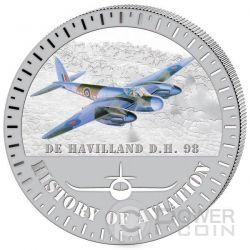 DE HAVILLAND D.H.98 History Of Aviation Airplane Fighter Aircraft Серебро Монета 5000 Франков Бурунди 2015