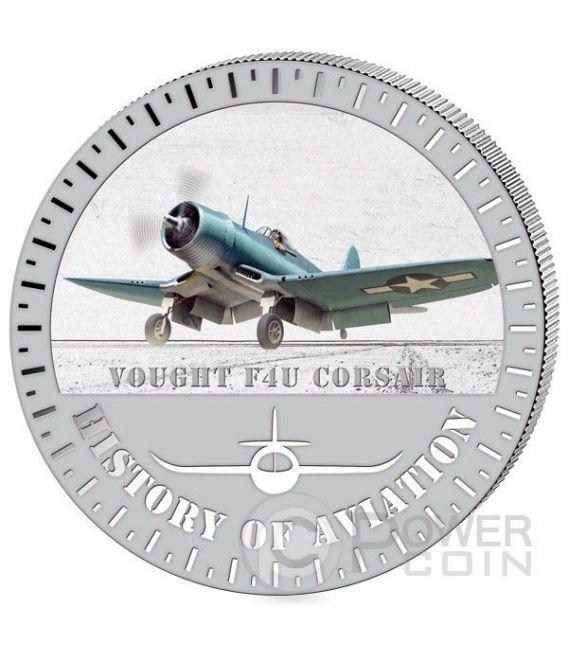 VOUGHT F4U Corsair Storia Aviazione Aeroplano Caccia Moneta Argento 5000 Franchi Burundi 2015