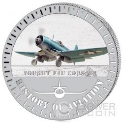 VOUGHT F4U Corsair History Of Aviation Airplane Fighter Aircraft Серебро Монета 5000 Франков Бурунди 2015