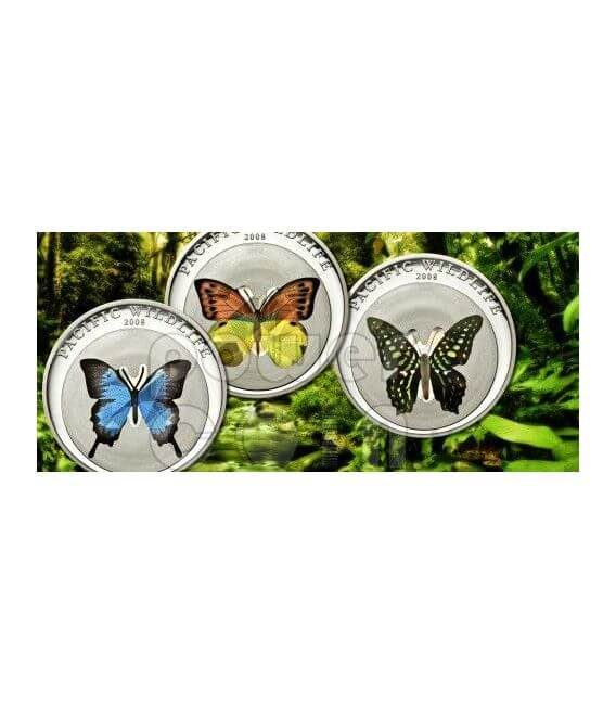 BUTTERFLY BLUE Pacific Wildlife Silver Coin Prism 5$ Palau 2008