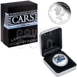 LAMBORGHINI COUNTACH Sports Cars Серебро Монета 1$ Тувалу 2006