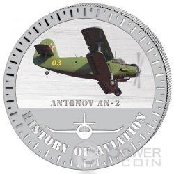 ANTONOV AN2 Storia Aviazione Aeroplano Caccia Moneta Argento 5000 Franchi Burundi 2015