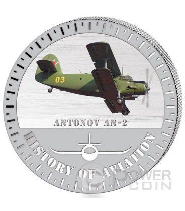 ANTONOV AN2 History Of Aviation Airplane Fighter Aircraft Silver Coin 5000 Francs Burundi 2015