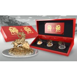 GOAT THREE DIMENSIONAL 3D Lunar Year Moneda Plata Set 500 Francs Rwanda 2015