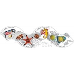 MARINE LIFE Commemorative Discovery Of Nature 4 Plata Proof Moneda Set 3000 Riels Cambodia 2014