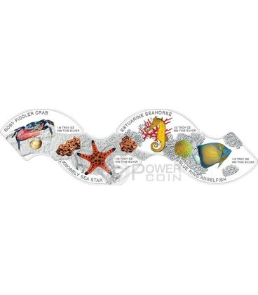MARINE LIFE Commemorative Discovery Of Nature Set 4 Monete Argento Proof 3000 Riels Cambogia 2014