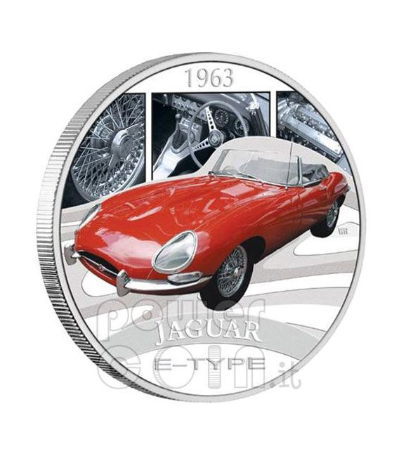 JAGUAR E-TYPE XKE Sports Cars Silber Münze 1$ Tuvalu 2006