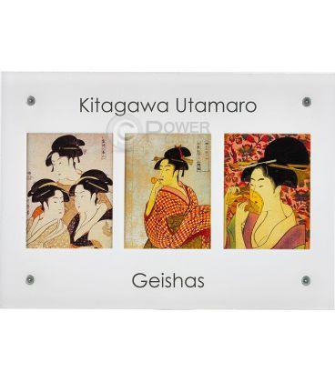 GEISHAS Kitagawa Utamaro Set 3 Monete Argento 10$ Niue 2015