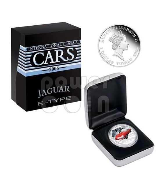 JAGUAR E-TYPE XKE Sports Cars Silver Coin 1$ Tuvalu 2006
