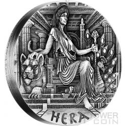 HERA Goddesses of Olympus High Relief Rimless 2 Oz Silver Coin 2$ Tuvalu 2015