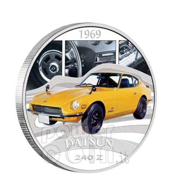 DATSUN 240Z Sports Cars Silber Münze 1$ Tuvalu 2006