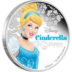 CINDERELLA Cenerentola Disney Princess Principessa 1 oz Moneta Argento 2$ Niue 2015