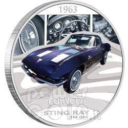 CHEVROLET CORVETTE STING RAY Sports Cars Серебро Монета 1$ Тувалу 2006