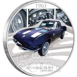 CHEVROLET CORVETTE STING RAY Sports Cars Silver Coin 1$ Tuvalu 2006