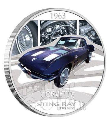 CHEVROLET CORVETTE STING RAY Sports Cars Silver Coin 1$ Tuvalu 2006