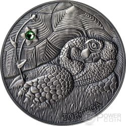 POND TURTLE Atlas Wildlife Series Europe Swarovski Crystal Silver Coin 10D Andorra 2014