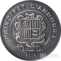 POND TURTLE Atlas Wildlife Series Europe Swarovski Crystal Silver Coin 10D Andorra 2014