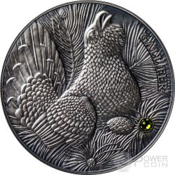 WOOD GROUSE Atlas Wildlife Series Europe Swarovski Crystal Silber Münze 10D Andorra 2014
