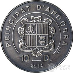 WOOD GROUSE Atlas Wildlife Series Europe Swarovski Crystal Серебро Монета 10D Андора 2014
