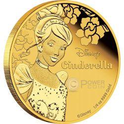 CINDERELLA Cenerentola Disney Princess Principessa 1/4 oz Moneta Oro 25$ Niue 2015