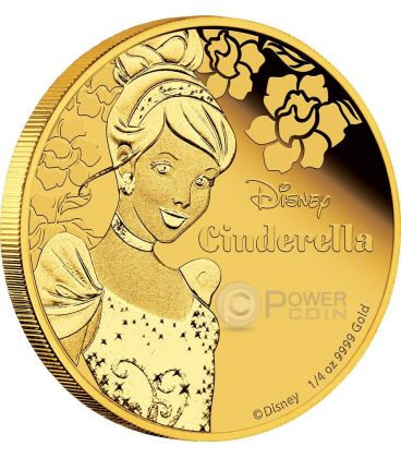 CINDERELLA Disney Princess 1/4 oz Gold Proof Coin 25$ Niue 2015