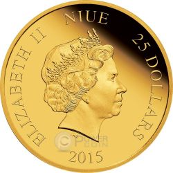 CINDERELLA Disney Princess 1/4 oz Oro Proof Moneda 25$ Niue 2015