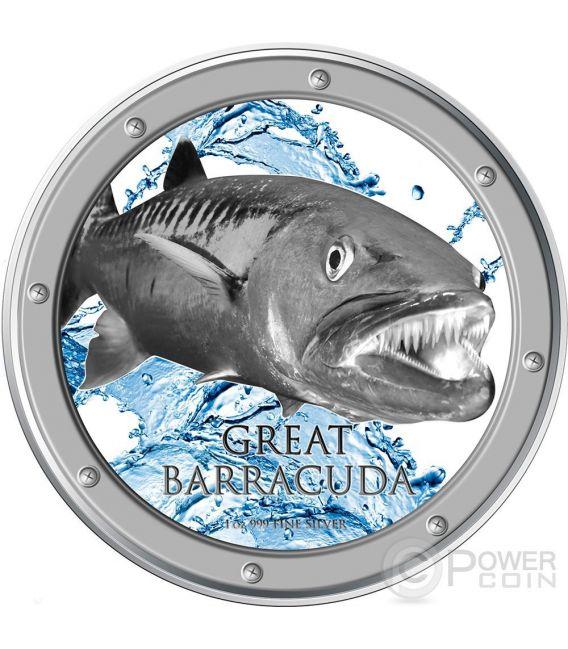 GREAT BARRACUDA Ocean Predators Moneta Argento 2$ Niue 2015