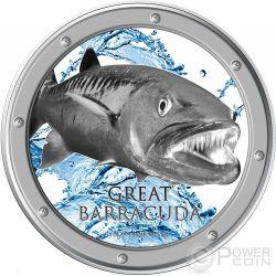 GREAT BARRACUDA Ocean Predators Silver Coin 1 Oz 2$ Niue 2015