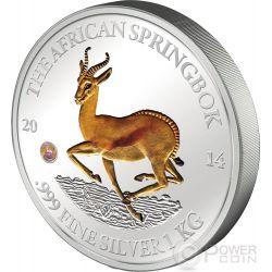 AFRICAN SPRINGBOK Antelope 1 Kg Kilo Moneda Plata 10000 Francs Gabon 2014