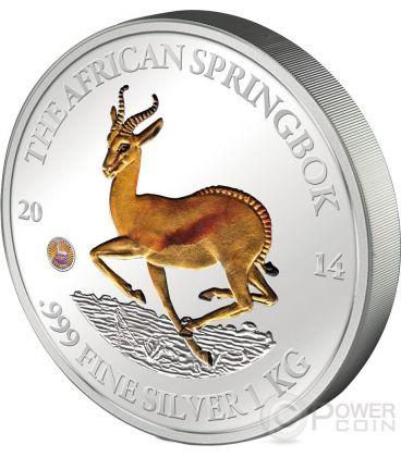 AFRICAN SPRINGBOK Antelope 1 Kg Kilo Silver Coin 10000 Francs Gabon 2014