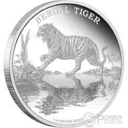 TIGRE DEL BENGALA Bengal Tiger Endangered Species Moneta 1 oz Argento 2$ Niue 2015