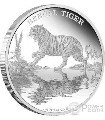 TIGRE DEL BENGALA Bengal Tiger Endangered Species Moneta 1 oz Argento 2$ Niue 2015