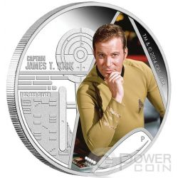 CAPTAIN JAMES T. KIRK Capitano Star Trek Moneta Argento 1$ Tuvalu 2015
