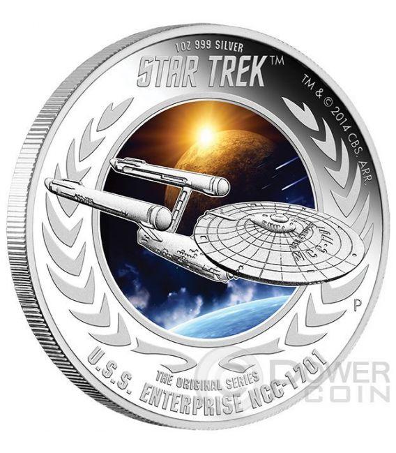 U.S.S. ENTERPRISE NCC-1701 Astronave Star Trek Moneta Argento 1$ Tuvalu 2015