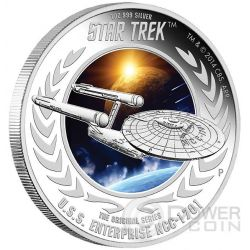 U.S.S. ENTERPRISE NCC-1701 Starship Star Trek Series Silver Coin 1$ Tuvalu 2015