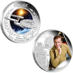 CAPTAIN KIRK ENTERPRISE Astronave Star Trek Set Moneta Argento 1$ Tuvalu 2015